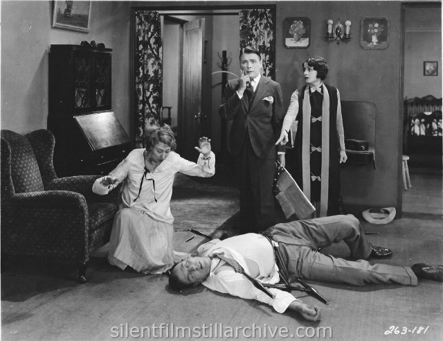 Charlotte Greenwood, George K. Arthur, Louise Lorraine and Karl Dane in BABY MINE (1928).