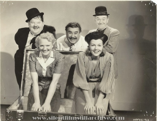 Gag BLOCK-HEADS (1938) photo with Oliver Hardy, Billy Gilbert, Stan Laurel, Minna Gombell and Patricia Ellis
