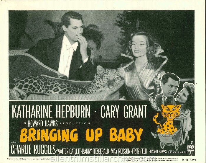 Cary Grant and Katharine Hepburn in BRINGING UP BABY (1938). 1955 Re-release Lobby Card
