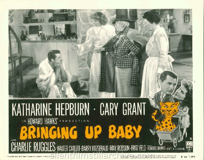 May Robson, Katharine Hepburn and Charles Ruggles in BRINGING UP BABY (1938). 1955 Re-release Lobby Card