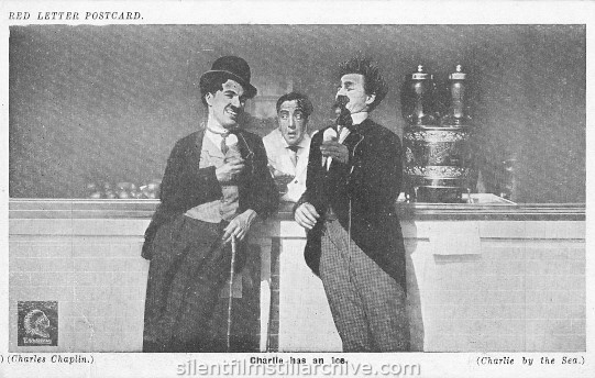 Charlie Chaplin and Snub Pollard in BY THE SEA  (1915) Red Letter Postcard