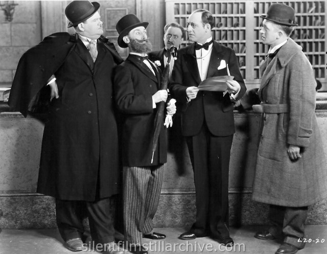 Oliver Hardy, Charley Rogers, Rolfe Sedan, William Gillespie and Stan Laurel in DOUBLE WHOOPEE  (1929)