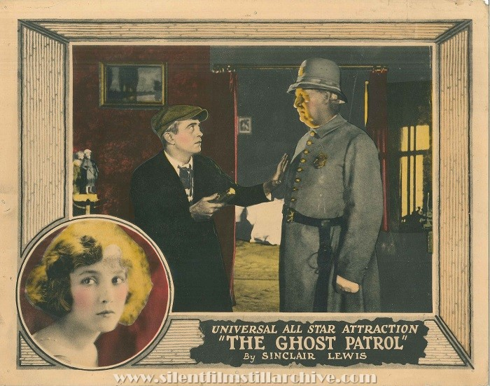 Lobby card with Bessie Love and George Nichols in THE GHOST PATROL (1923).