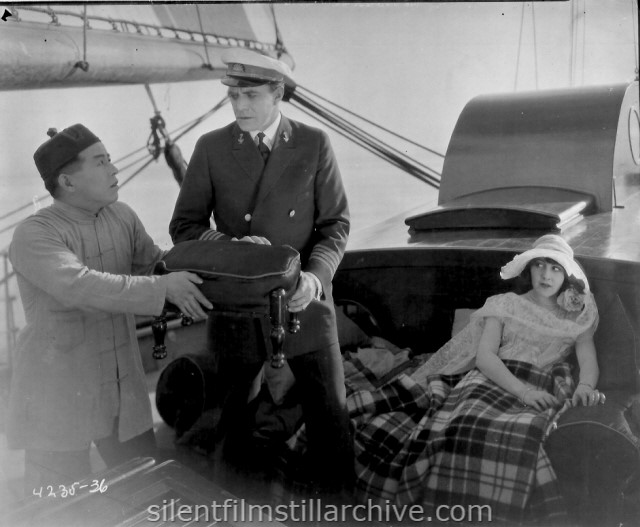 George Kuwa, House Peters and Patsy Ruth Miller in HEAD WINDS (1925)