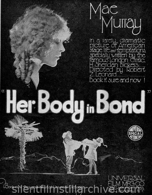 HER BODY IN BOND (1918) ad from the Moving Picture Weekly magazine