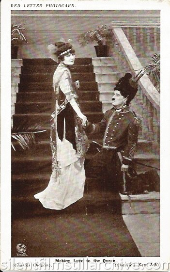Red Letter Photocard of HIS NEW JOB (1915) with Charlotte Mineau and Charlie Chaplin