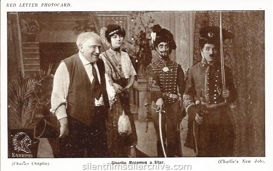 Red Letter Photocard of HIS NEW JOB (1915) with Robert Bolder, Charlotte Mineau, Leo White and Charlie Chaplin