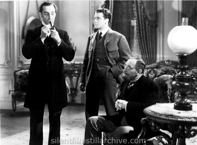 Basil Rathbone, Richard Greene, and Lionel Atwill in THE HOUND OF BASKERVILLES (1939)