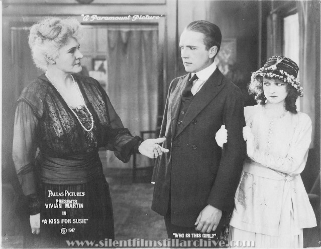Elinor Hancock, Tom Forman and Vivian Martin in A KISS FOR SUSIE (1917)