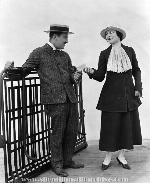 Raymond Griffith and Mary Thurman in A SCOUNDREL'S TOLL (1916)