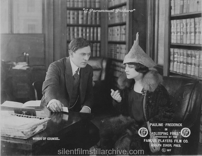 Thomas Meighan and Pauline Frederick in SLEEPING FIRES (1917).