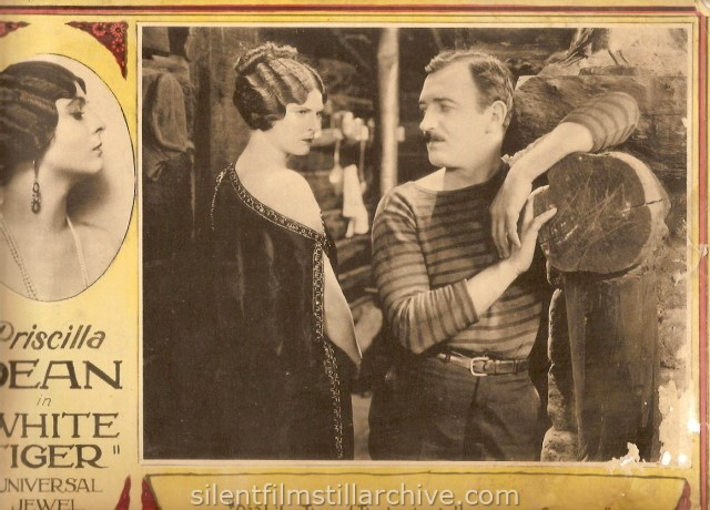Lobby card with Priscilla Dean and Raymond Griffith in WHITE TIGER (1923)