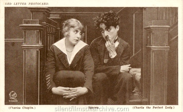 Edna Purviance and Charlie Chaplin in A WOMAN (1915) Red Letter Photocard