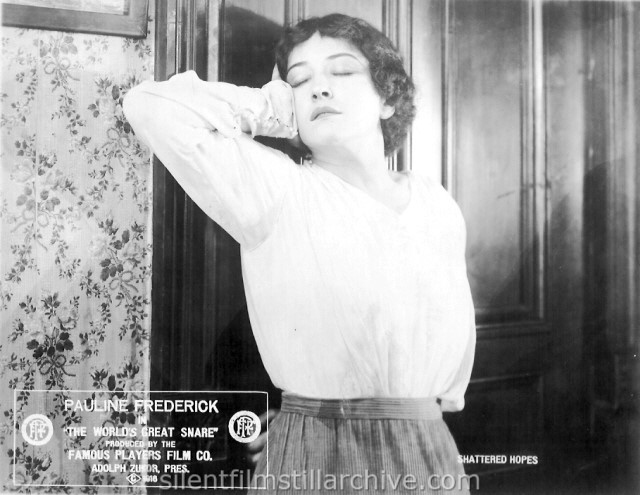 Pauline Frederick in THE WORLD'S GREAT SNARE (1916)
