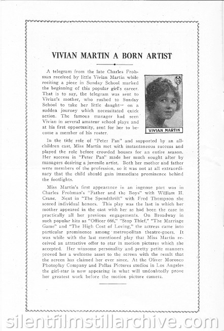 Strand Theatre program article on Vivian Martin
