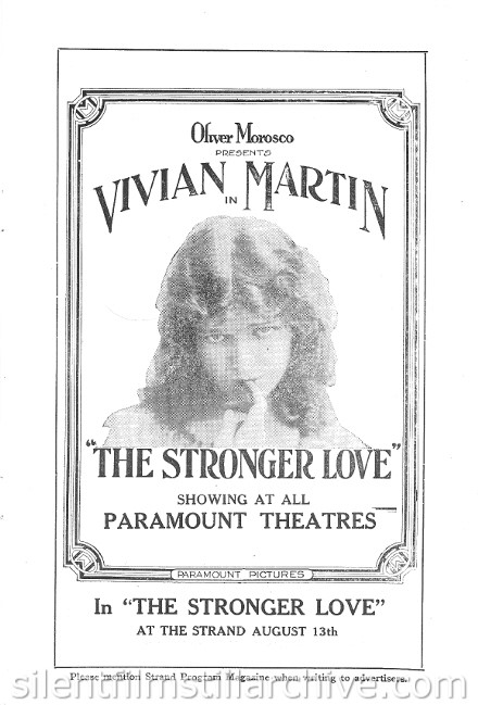 Strand Theatre Program for Vivian Martin in THE STRONGER LOVE (1916)
