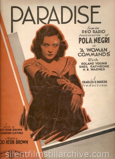 PARADISE (1931) Sheet Music with Pola Negri